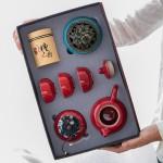 中国红陶瓷功夫茶具地产送礼客户送礼周年庆 可定制logo