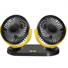 双头USB强冷风扇 3档可调速 12V24伏汽车通用 车载风扇