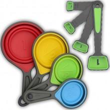 伸缩硅胶量杯量勺8件套带刻度计调味勺彩色折叠量杯 可定制logo