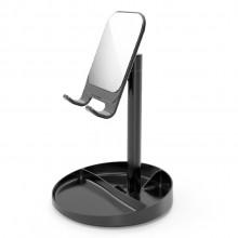 带镜子圆盘收纳可升降调节桌面懒人伸缩通用平板手机支架