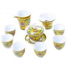 景德镇珐琅彩盖碗茶具套装陶瓷手工功夫茶具整套礼盒礼品定制LOGO