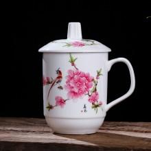 景德镇陶瓷杯子带盖茶杯水杯办公杯 瓷杯定制 酒店会议室泡茶杯子