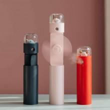 伸缩喷雾风扇卡通口袋便捷USB充电三合一迷你手持加湿扇