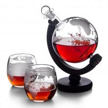 地球仪帆船造型玻璃酒瓶