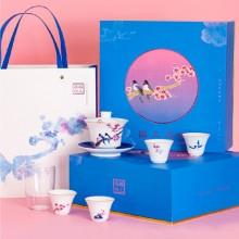 功夫茶杯盖碗泡茶中国风 陶瓷茶具套装 文创