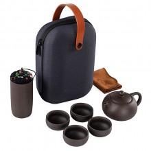 紫砂一壶四杯 户外便携旅行茶具套装 家用陶瓷快客杯功夫茶具定制