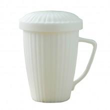 马克杯水杯男女通用纯白平底可加热带盖不带勺茶水分离杯