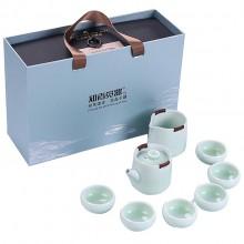 便携哥窑茶具套装 居家送礼泡茶八件套 金丝铁线防烫手可定制LOGO