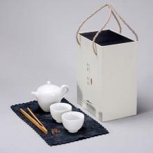 简茶系列美人提梁壶羊脂玉茶具小套装黑陶茶壶茶杯礼盒装工厂批发