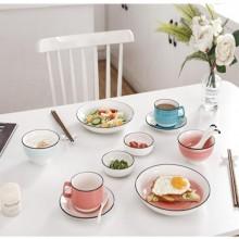 渐变色手绘餐具陶瓷碗陶瓷勺子随手礼女神节礼品银行礼品
