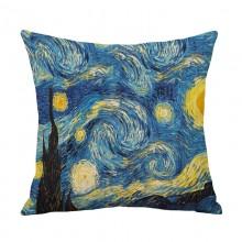 创意梵高油画印花棉麻抱枕