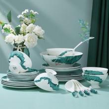 国潮碗碟套装家用碗盘筷组合个性简约吃饭碗汤碗餐具套组