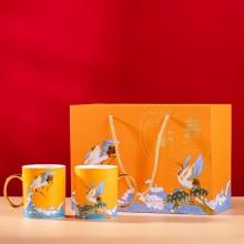 中秋礼品描金马克杯对杯礼盒装国潮风