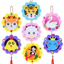 DIY卡通中秋节灯笼手提幼儿园手工发光灯笼儿童不织布材料包玩具