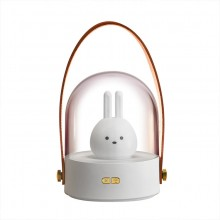 创意小兔子创意礼品手提灯萌宠led音乐蓝牙八音盒3d小夜灯