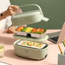 小浣熊电热饭盒可插电加热双层不锈钢内胆蒸煮热饭迷你便携饭盒